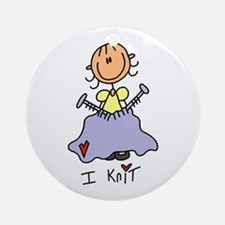 I Knit Stick Figure Ornament (Round)