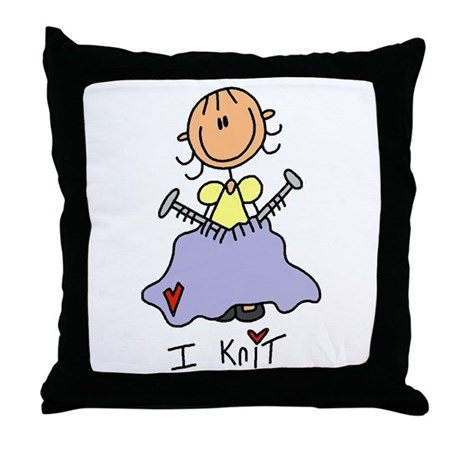 I Knit Stick Figure Throw Pillow