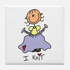 I Knit Stick Figure Tile Coaster