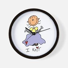 I Knit Stick Figure Wall Clock