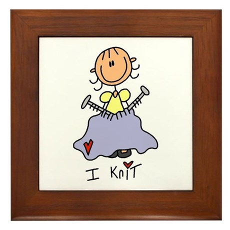 I Knit Stick Figure Framed Tile