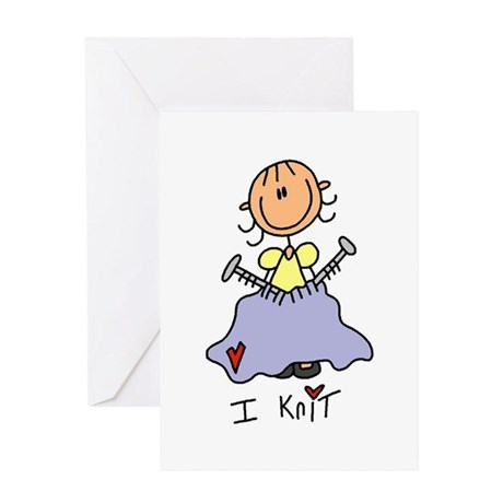 I Knit Stick Figure Greeting Card