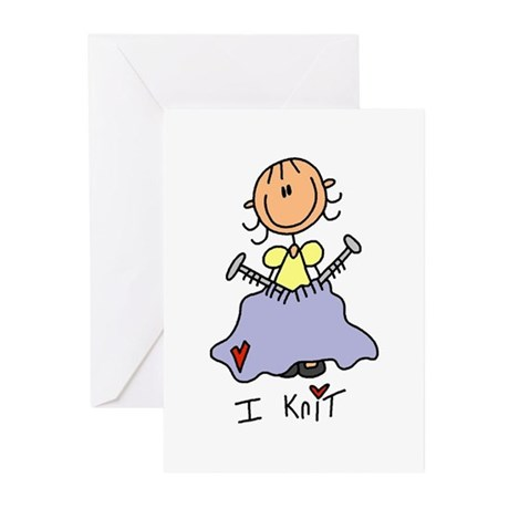 I Knit Stick Figure Greeting Cards (Pk of 10)