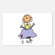 I Knit Stick Figure Postcards (Package of 8)