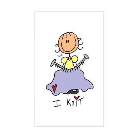 I Knit Stick Figure Sticker (Rectangle)