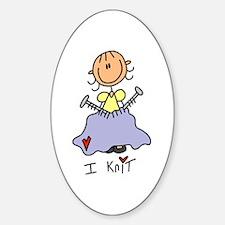 I Knit Stick Figure Sticker (Oval)