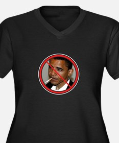 Cool Nobama Women's Plus Size V-Neck Dark T-Shirt
