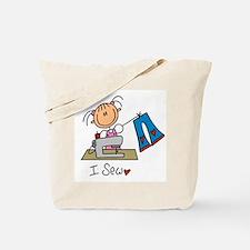 I Sew Stick Figure Tote Bag