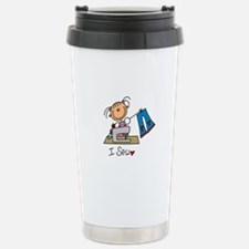 I Sew Stick Figure Stainless Steel Travel Mug