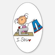 I Sew Stick Figure Sticker (Oval)