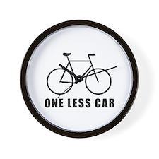 One less car - cycling Wall Clock