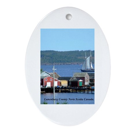Two mast Schooner Oval Ornament