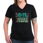 Oil Before People Women's V-Neck Tee (Dark)