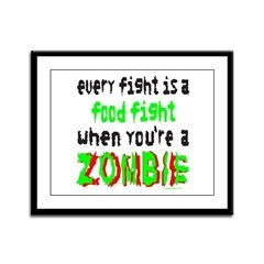 ZOMBIE FOOD FIGHT Framed Panel Print