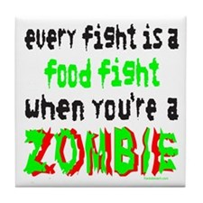 ZOMBIE FOOD FIGHT Tile Coaster
