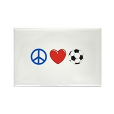 peace, love, soccer Rectangle Magnet (10 pack)