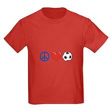 peace, love, soccer T