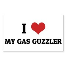 I Love My Gas Guzzler Rectangle Decal