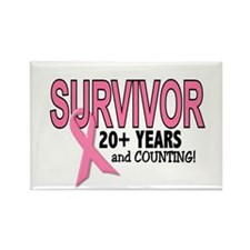 Breast Cancer Survivor 20+ Years Rectangle Magnet