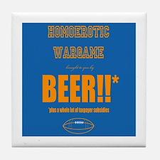 Cute Beer football Tile Coaster