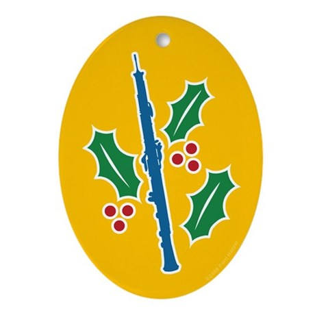 Oboe Holly Oval Ornament