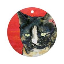 Calico Kitty Ornament (Round)