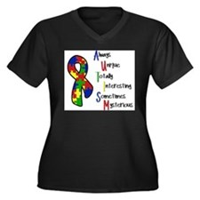 Autism Awareness Women's Plus Size V-Neck Dark T-S