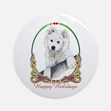 Samoyed Happy Holidays Ornament (Round)