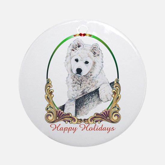 Samoyed Happy Holidays Ornament (Round)