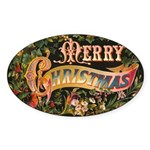 Merry Christmas Oval Sticker (10 pk)