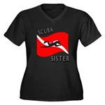 Scuba Sister Women's Plus Size V-Neck Dark T-Shirt