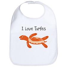 Orange I Love Turtles Bib