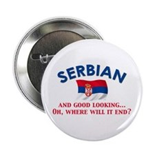"Good Lkg Serbian 2 2.25"" Button"