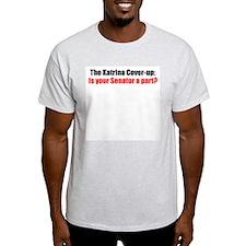 The Katrina Cover-up (red) Ash Grey T-Shirt