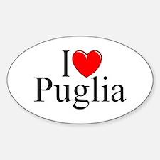 """I Love (Heart) Puglia"" Oval Decal"