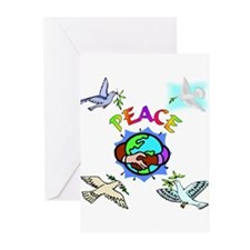 World Peace With Doves Greeting Cards