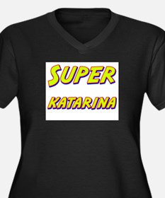 Super katarina Women's Plus Size V-Neck Dark T-Shi