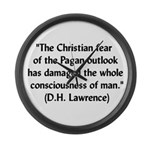 DH Lawrence Pagan Quote Large Wall Clock