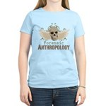 Forensic Anthropology Women's Light T-Shirt - A paint spattered grunge skull with wings and floral design in khaki, olive and brown hues. Forensic anthropology apparel and gifts for a forensic anthropologist, scientist, student, teacher or grad. - Availble Sizes:Small,Medium,Large,X-Large,2X-Large (+$3.00) - Availble Colors: Light Yellow,Light Pink,Light Blue