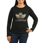 Forensic Anthropology Women's Long Sleeve Dark T-S - A paint spattered grunge skull with wings and floral design in khaki, olive and brown hues. Forensic anthropology apparel and gifts for a forensic anthropologist, scientist, student, teacher or grad. - Availble Sizes:Small,Medium,Large,X-Large,2X-Large (+$3.00) - Availble Colors: Black