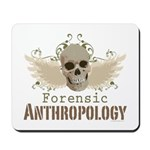 Forensic Anthropology Mousepad - A paint spattered grunge skull with wings and floral design in khaki, olive and brown hues. Forensic anthropology apparel and gifts for a forensic anthropologist, scientist, student, teacher or grad.