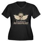 Forensic Anthropology Women's Plus Size V-Neck Dar - A paint spattered grunge skull with wings and floral design in khaki, olive and brown hues. Forensic anthropology apparel and gifts for a forensic anthropologist, scientist, student, teacher or grad. - Availble Sizes:1 (16/18),2 (20/22),3 (24/26),4 (28/30),5 (32/34) - Availble Colors: Black,Navy