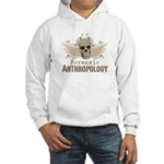 Forensic Anthropology Hooded Sweatshirt - A paint spattered grunge skull with wings and floral design in khaki, olive and brown hues. Forensic anthropology apparel and gifts for a forensic anthropologist, scientist, student, teacher or grad. - Availble Sizes:Small,Medium,Large,X-Large,2X-Large (+$3.00) - Availble Colors: White,Heather Grey