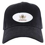 Forensic Anthropology Skull Black Cap - A paint spattered grunge skull with wings and floral design in khaki, olive and brown hues. Forensic anthropology apparel and gifts for a forensic anthropologist, scientist, student, teacher or grad.