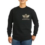 Forensic Anthropologist Long Sleeve Dark T-Shirt - A paint spattered grunge skull with wings and floral design in khaki, olive and brown hues. Forensic anthropology apparel and gifts for a forensic anthropologist, scientist, student, teacher or grad. - Availble Sizes:Small,Medium,Large,X-Large,2X-Large (+$3.00),3X-Large (+$3.00),4X-Large (+$3.00) - Availble Colors: Black,Navy