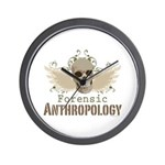 Forensic Anthropology Wall Clock - A paint spattered grunge skull with wings and floral design in khaki, olive and brown hues. Forensic anthropology apparel and gifts for a forensic anthropologist, scientist, student, teacher or grad.