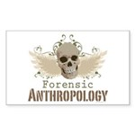 Forensic Anthropology Skull Rectangle Sticker 50 - A paint spattered grunge skull with wings and floral design in khaki, olive and brown hues. Forensic anthropology apparel and gifts for a forensic anthropologist, scientist, student, teacher or grad. - Availble Colors: White,Clear