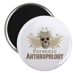 Forensic Anthropology Skull Magnet - A paint spattered grunge skull with wings and floral design in khaki, olive and brown hues. Forensic anthropology apparel and gifts for a forensic anthropologist, scientist, student, teacher or grad.