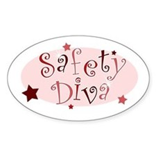 """""""Safety Diva"""" [red] Oval Decal"""