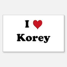 I love Korey Rectangle Decal